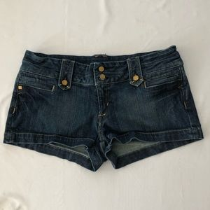 BEBE denim shorts size 31 with gold embellishments